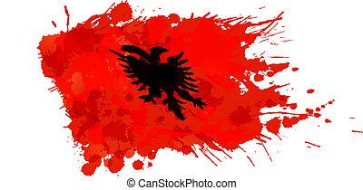 albanese, fatto, bandiera, colorito, schizzi