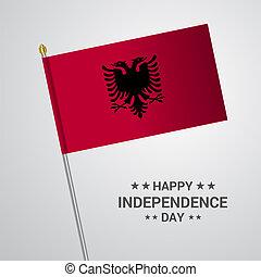 albania, tipografico, bandiera, vettore, disegno, giorno, indipendenza