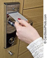 albergo, chiave porta, scheda