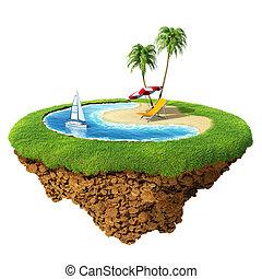 albergo, pianeta, poco, concetto, terme, personale, isola, planet., piccolo, viaggiare, vacanza, ricorso, /, collection., design.