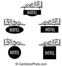 albergo, vettore, segno