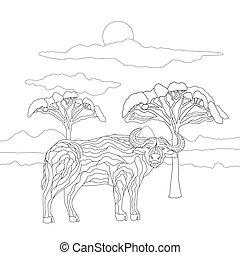 alberi., selvatico, coloritura, tipo, carino, animali, erbivori, lines., paesaggio, fondo, bufalo, bambini, adulti, savana, cielo, libro, toro