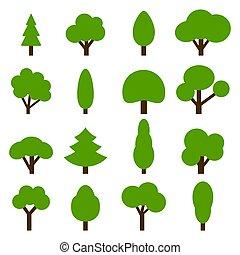 alberi verdi, collezione, icon., vettore