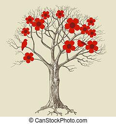 albero, amare uccelli, fiore