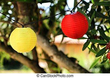 albero, appendere, colorato, rotondo, lanterne