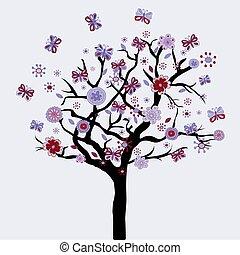 albero, astratto, fiori, farfalle, floreale