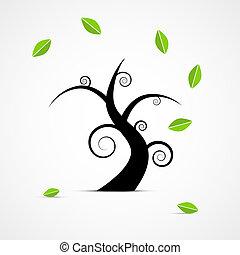 albero, astratto, foglie, vettore, verde