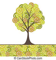albero, astratto, vettore, flowers., illustrazione