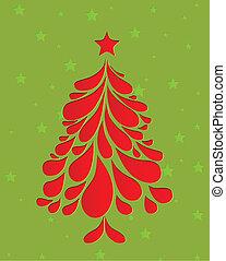albero., astratto, vettore, natale, rosso