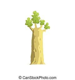 albero baobab, giovane, elemento, giungla, paesaggio