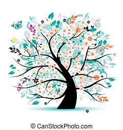 albero, bello, floreale