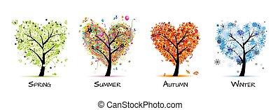 albero, bello, -, primavera, estate, quattro stagioni, tuo, disegno, arte, autunno, winter.