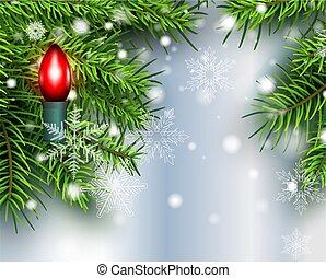 albero, bulbo, natale, fondo, luce, neve, pino