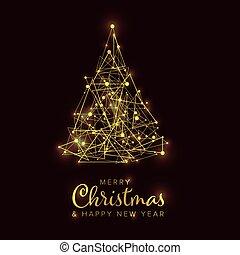 albero, buon natale, dorato, scheda