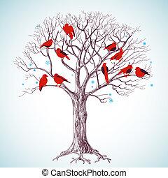 albero, canto, inverno, uccelli