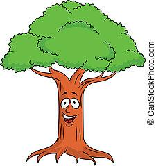 albero, carattere, cartone animato