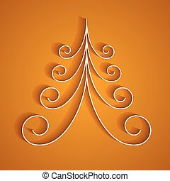 albero, carta, fondo, arancia, natale bianco, 3d