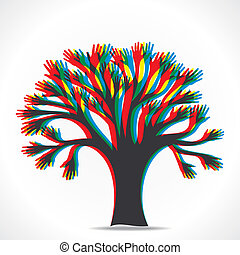 albero, colorito, mano