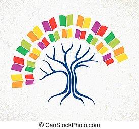 albero, concetto, educazione, libro