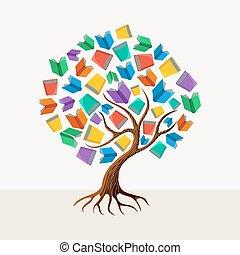 albero, concetto, educazione, libro, illustrazione