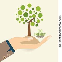 albero., concetto, illustration., eco, vettore, mano, ecologia, friendly.