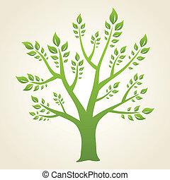 albero., concetto, verde