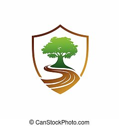 albero, concetto, vettore, scudo