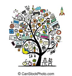 albero, coworking, disegno, tuo, concetto, spazio