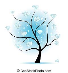 albero, disegno, arte, tuo, diamanti