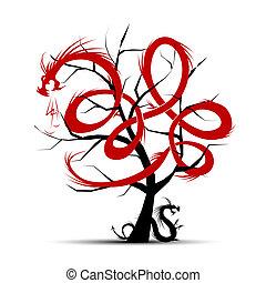 albero, disegno, arte, tuo, draghi