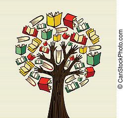 albero, disegno, libri, mano, concetto