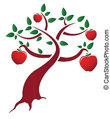 albero, disegno, mela, illustrazione
