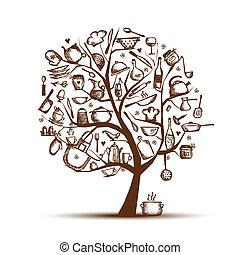 albero, disegno, tuo, arte, utensili, schizzo, disegno, cucina