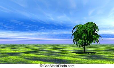 albero, erba, verde