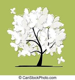 albero, farfalle, arte, tuo, disegno