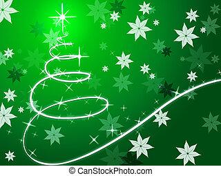 albero, fiori, fondo, mostra, natale, verde, dicembre