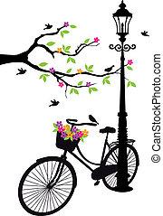 albero, fiori, lampada, bicicletta