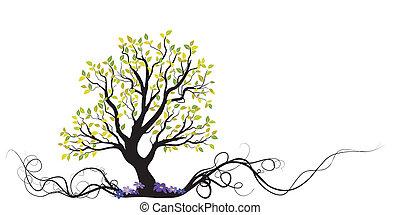 albero, fiori, vettore, radice