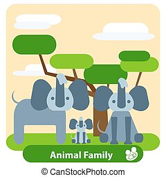 albero, fondo, elefanti, famiglia, clouds.
