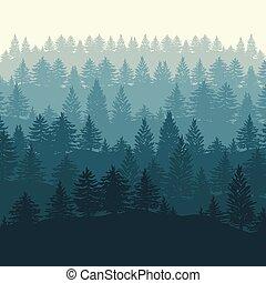 albero, foresta, fondo, silhouette