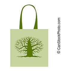 albero grande, borsa, disegno, verde, tuo