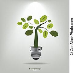 albero., illustration., eco, luce, vettore, bulbo, concept: