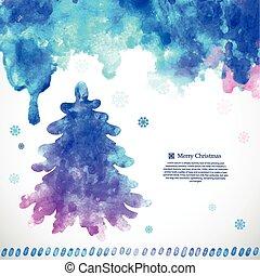 albero, illustrazione, natale, acquarello, vettore, pino