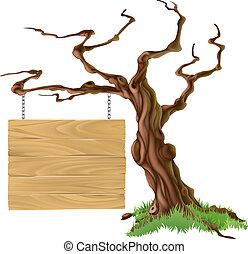 albero, illustrazione, segno