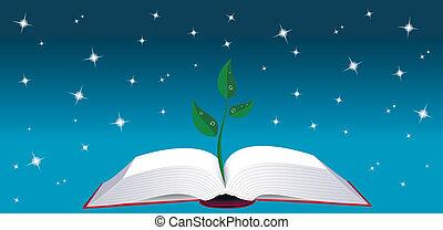 albero, libro, aperto, germoglio