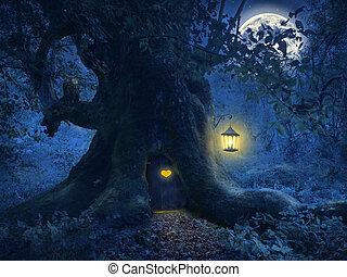 albero, magia, foresta, casa
