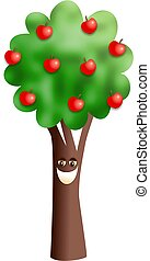 albero, mela, felice