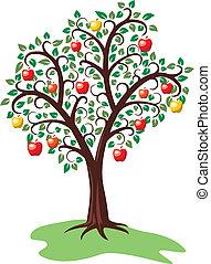 albero, mela, frutte