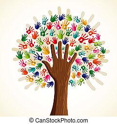 albero, multi-etnico, colorito
