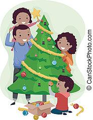 albero, natale, famiglia